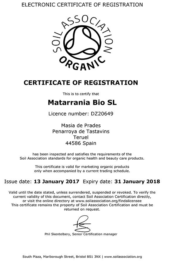 certificado soil association matarrania
