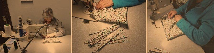 Rosa cosiendo las bolsas de algodón navideñas de MATARRANIA
