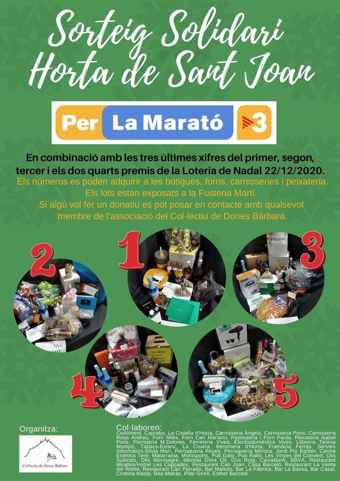 Sorteos del Col.lectiu Dones Bàrbara de Horta de Sant Joan para La Marató de TV3 2020